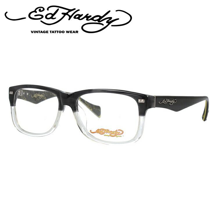 【訳あり】エドハーディー EdHardy メガネ フレーム 眼鏡 度付き 度なし 伊達 EHOA013 4 GREY CR グレイクリスタル ウェリントン型 メンズ レディース ウェリントン型 UVカット 紫外線