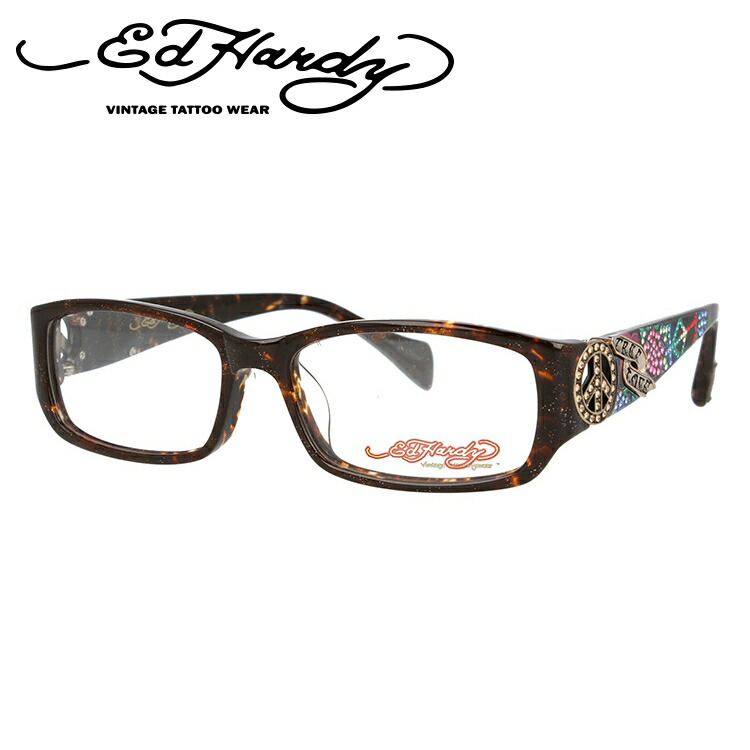 EdHardy エドハーディー 伊達メガネ 眼鏡 EHOA019 2 BROWN HORN ブラウンホーン スクエア メンズ レディース 【スクエア型】