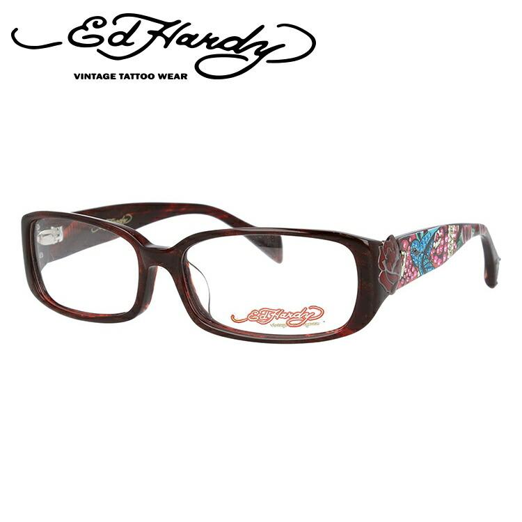 【訳あり】エドハーディー EdHardy メガネ フレーム 眼鏡 度付き 度なし 伊達 EHOA025 4 RED HORN レッドホーン スクエア型 メンズ レディース スクエア型 UVカット 紫外線