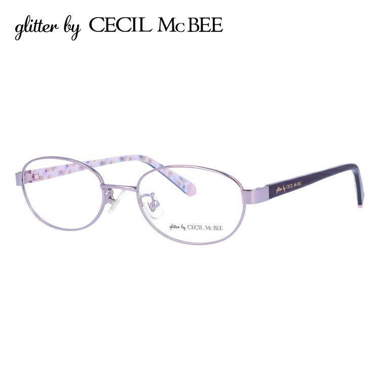 セシルマクビー CECIL McBEE メガネ フレーム 眼鏡 度付き 度なし 伊達 アジアンフィット glitter by CECIL McBEE GCF 3501-2 50サイズ オーバル型 レディース 女性用 アイウェア UVカット 紫外線対策 UV対策 おしゃれ ギフト