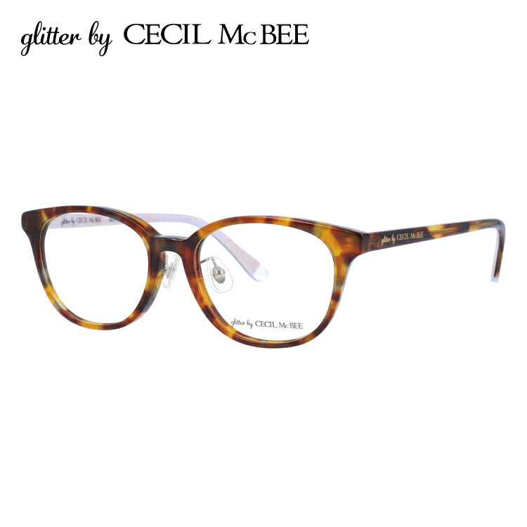グリッターバイセシルマクビー 伊達メガネ 眼鏡 アジアンフィット glitter by CECIL McBEE GCF 7504-2 50サイズ ウェリントン レディース