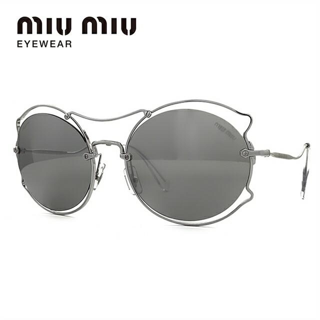 ミュウミュウ サングラス ミラーレンズ miu miu MU50SS 1BC2B0 57サイズ 国内正規品 オーバル レディース