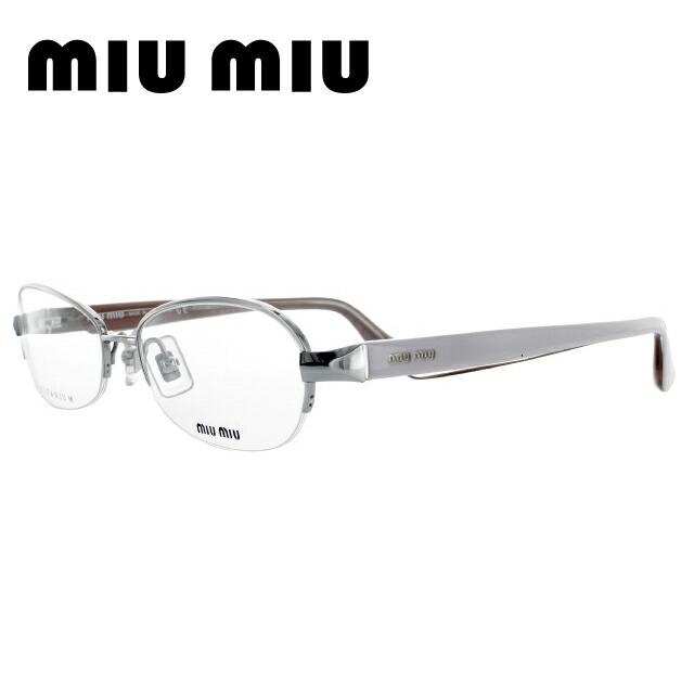 miumiu ミュウミュウ 伊達メガネ 眼鏡 国内正規品 MU55IV 1AP1O1 54 シルバー/パステル ピンク オーバル レディース