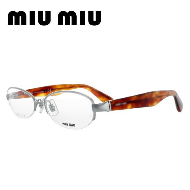 ミュウミュウ miu miu メガネ フレーム 眼鏡 度付き 度なし 伊達 MU57IV IAL1O1 54 シルバー/ハバナ オーバル型 レディース 女性用 UVカット 紫外線対策 UV対策 おしゃれ ギフト 【国内正規品】