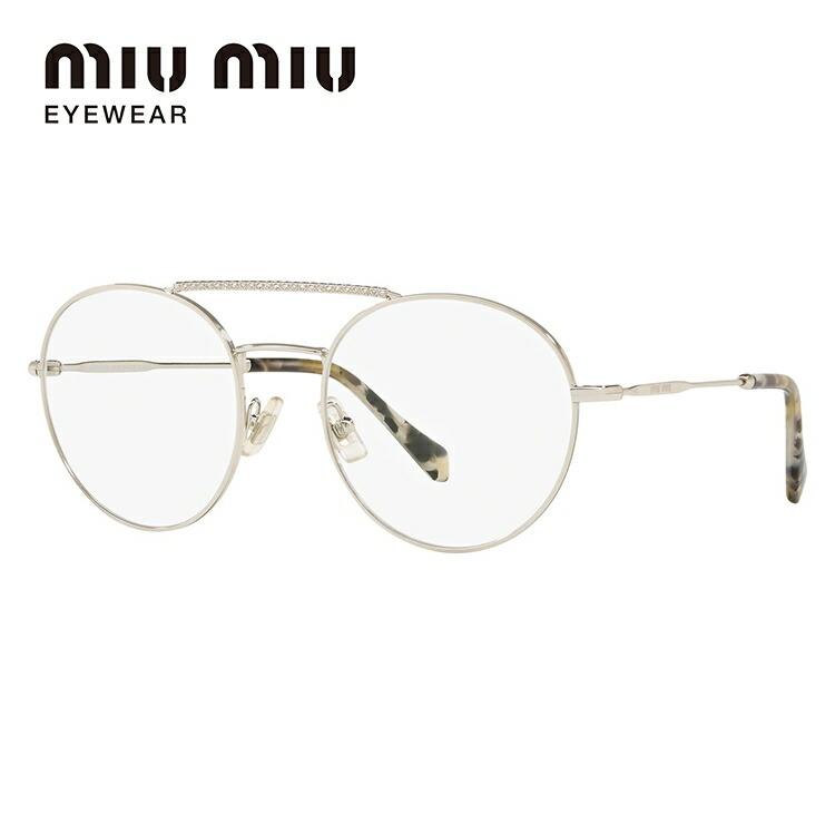 ミュウミュウ 伊達メガネ 眼鏡 2018年新作 レギュラーフィット miu miu MU51RV 1BC1O1 52サイズ 国内正規品 ラウンド レディース