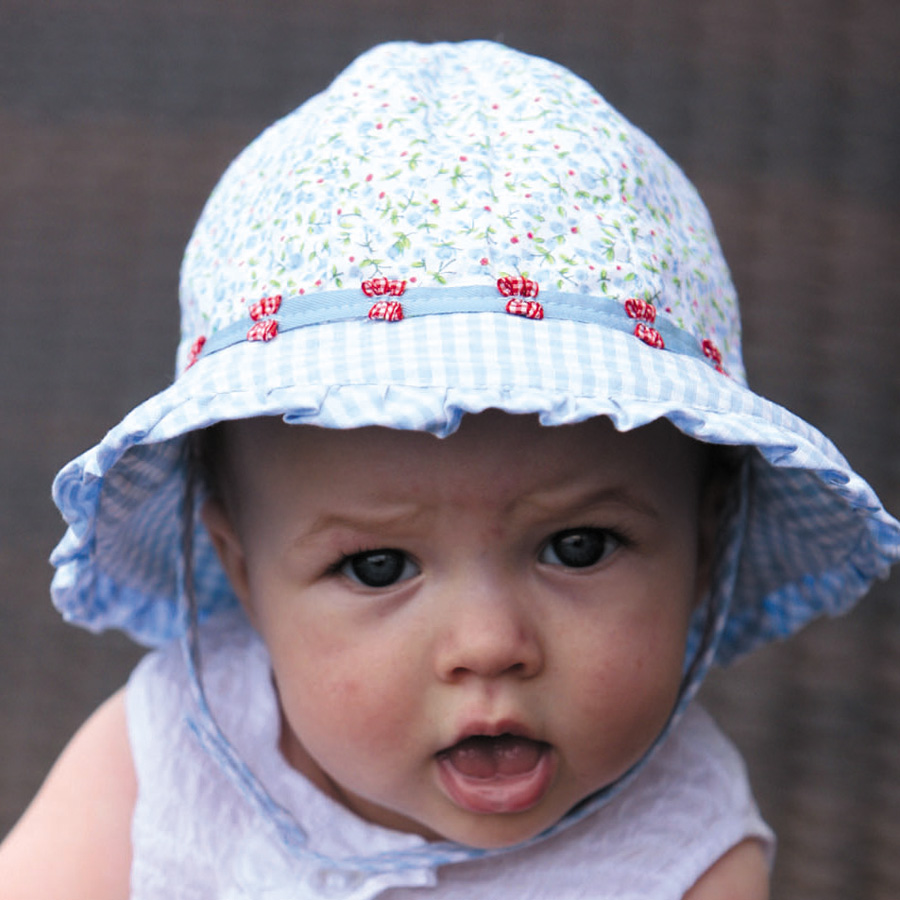 UV cut hat (for baby)-baby Sun Hat - ruffled baby bonnet color  light blue a479ec7e2b2