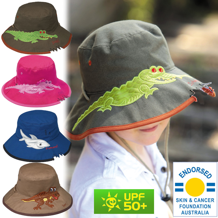 4d78d2bd617e53 Sun hat - Children's hat - Wide Brim Bucket - Crocodile/Dark Khaki UPF50+  EXCELLENT PROTECTION which blocks >97.5% of the sun's UV radiations giving  ...