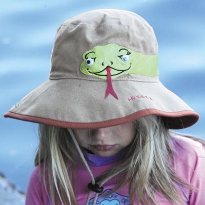 UV cut Hat ( children ) - kids Sun Hat - wide bucket colors  Snake   light  khaki 1ebbd6655ed