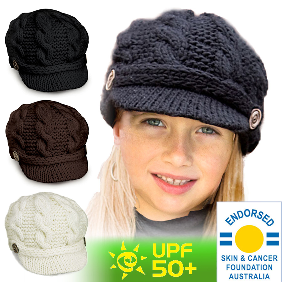 565ce96007e04e UV cut hat (for the woman child) - kids knit hat - knit cap color in the  fall and winter: Ivory, black, brown