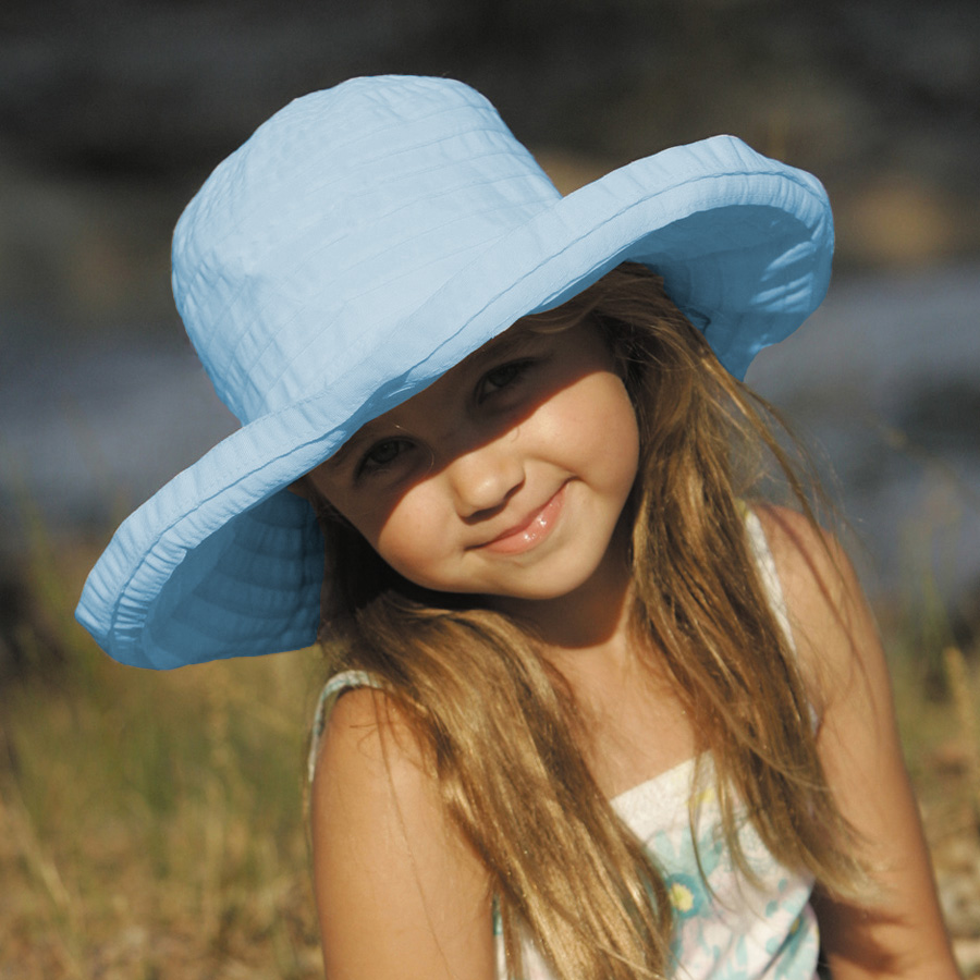 c9429556 UV cut Hat ( children )-kids Sun Hat - ビッグブリム Ribbon hit color: light blue  53 cm