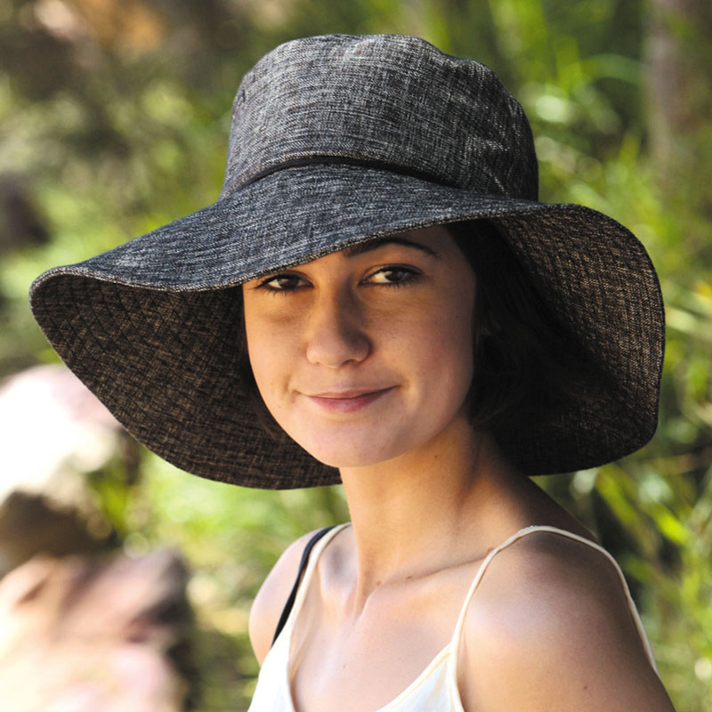 Sunglobe  Sun hat - Ladies hat - Wide Brim Linen Hat Charcoal UPF50+ ... 3f63f4ca45e