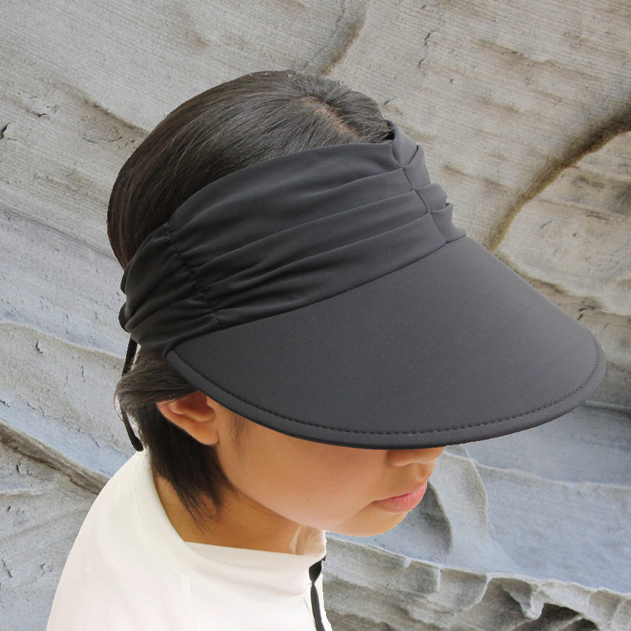 cfcda96a Sun hat - Ladies visor - Lycra Adjustable Visor - Black UPF50+ EXCELLENT  PROTECTION which blocks ...