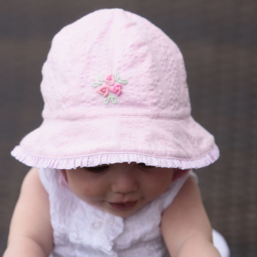 Sun hat - Baby hat - Babies Bonnet with Frilly Edge Pink with Rose  Embroidery UPF50+ EXCELLENT PROTECTION which blocks  97.5% of the sun s UV  radiations ... db3e6578b2b