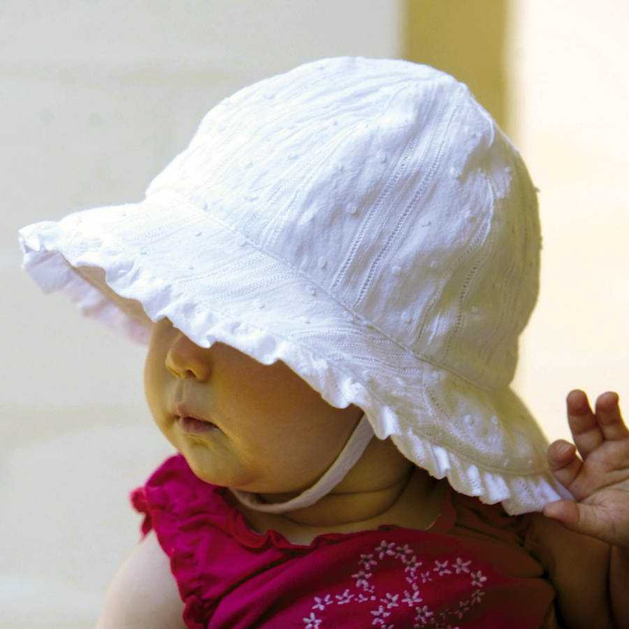 Sun hat - Baby hat - Babies Bonnet with Frilly Edge White Brocade UPF50+  EXCELLENT PROTECTION which blocks  97.5% of the sun s UV radiations giving  ... ad62dc326ac