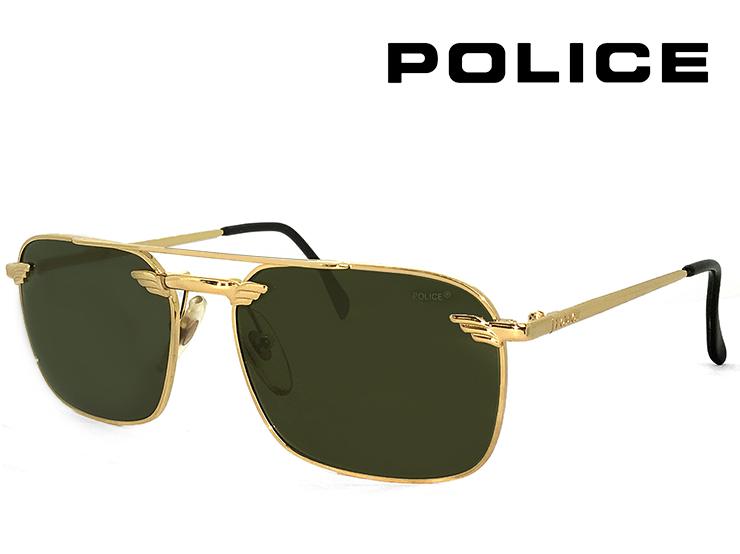 ポリス ヴィンテージ サングラス 2147-005 police レトロ 訳あり メンズ Sサイズ スクエア ツーブリッジ UVカット