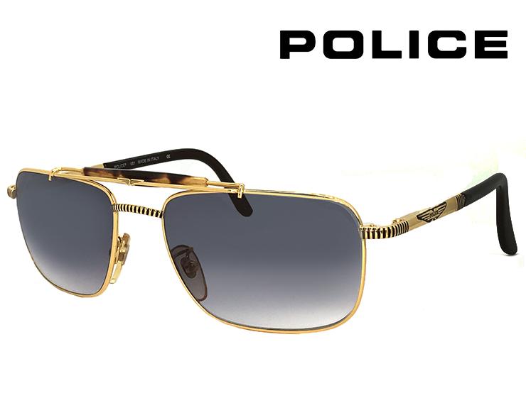 ポリス ヴィンテージ サングラス 2187-5103 police レトロ 訳あり メンズ スクエア ツーブリッジ バネ蝶番 UVカット