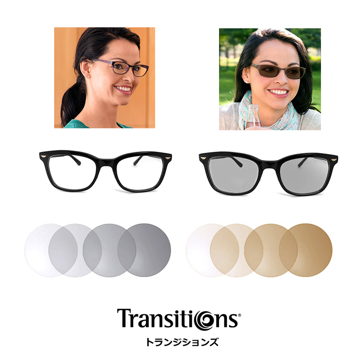 Transitions 調光レンズ 眼鏡 加工用【 度数なし & 度数あり 対応 】トランジションズ 2枚1組 レンズ 眼鏡/サングラス UVカット 紫外線対策