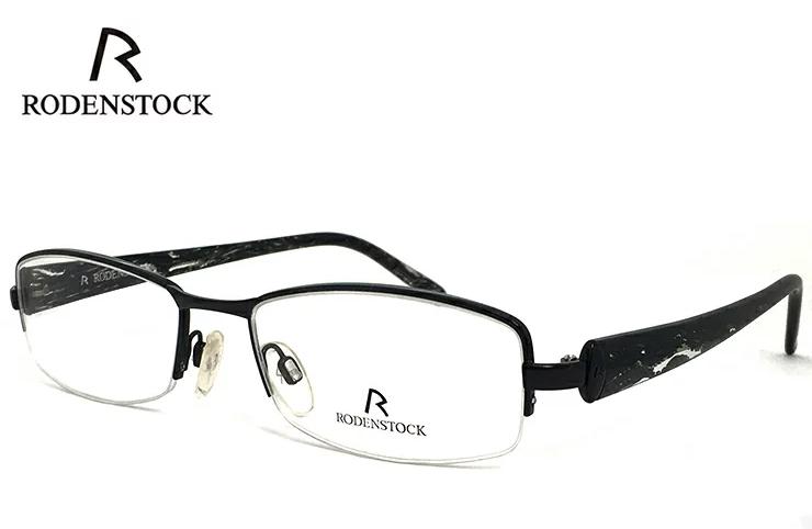 ローデンストック 眼鏡 (メガネ) RODENSTOCK R4704 C ナイロール ハーフリム コンビネーション フレーム メンズ レディース [ 度付き・伊達メガネ・クリアサングラス・老眼鏡として 対応可能な UVカット レンズ 付き ] ローデン ストック ブラック 黒縁