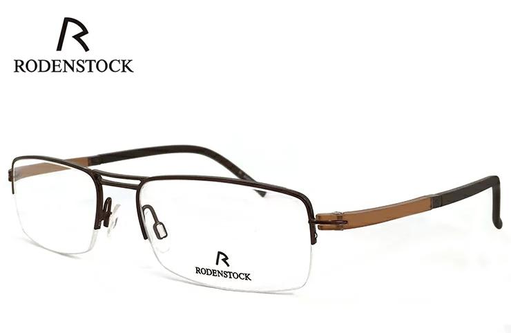 ローデンストック 眼鏡 (メガネ) RODENSTOCK r4720 B ナイロール ハーフリム コンビネーション フレーム メンズ 男性用 [ 度付き・伊達メガネ・クリアサングラス・老眼鏡として 対応可能な UVカット レンズ 付き ] ローデン ストック ブラウン