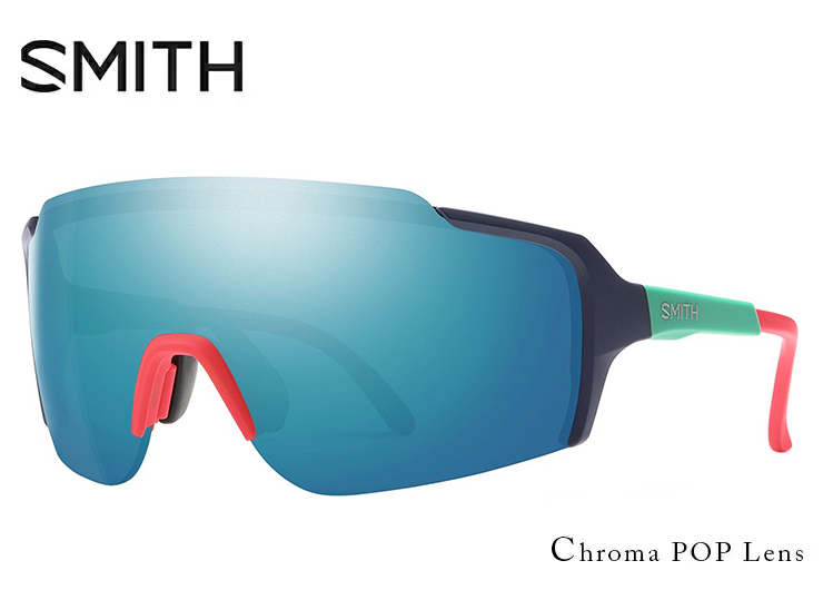 SMITH スミス サングラス FLYWHEEL matte deep ink ChromaPop Sun Blue Mirror フライウィール 1枚レンズ シールド型 サングラス メンズ 度付き 対応 スポーツサングラス