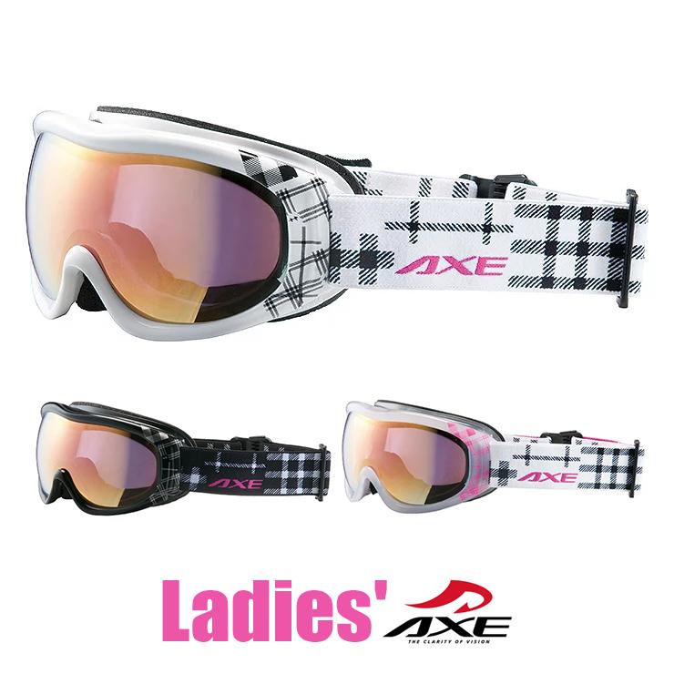 スノーゴーグル レディース 女性用 AXE アックス ax600 wcm wt bk cwt ホワイト ブラック [スノーゴーグル スキー スノボー スノー ゴーグル ミラーレンズ モデル ] カワイイ 人気の チェック柄 プレゼント にも おすすめ