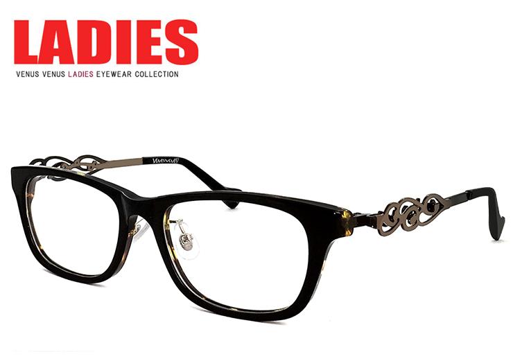 メガネ レディース ウェリントン [ 度付き・伊達メガネ・クリアサングラス・老眼鏡として 対応可能 UVカットレンズ付 ] かわいい オシャレ 眼鏡 venus×2 1263-1-6