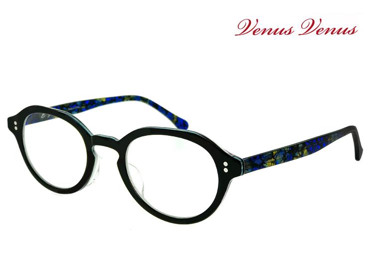 メガネ レディース ボストン型 眼鏡 [ 度付き・伊達メガネ・クリアサングラス・老眼鏡として 対応可能 UVカットレンズ付き ] おしゃれ かわいい venus×2 1502-1 黒ぶち