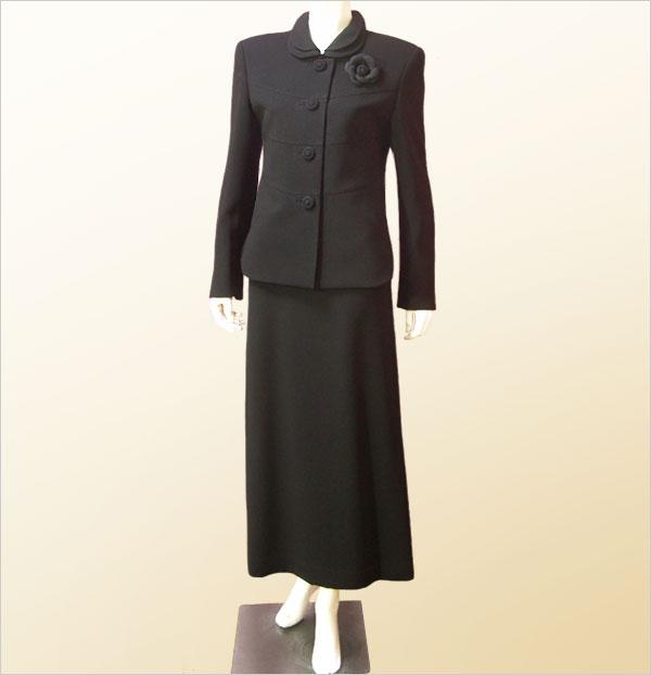 3点セットスーツ ブラックフォーマル /[ノーブランド品/] ロングワンピーススーツ レディース 喪服 黒