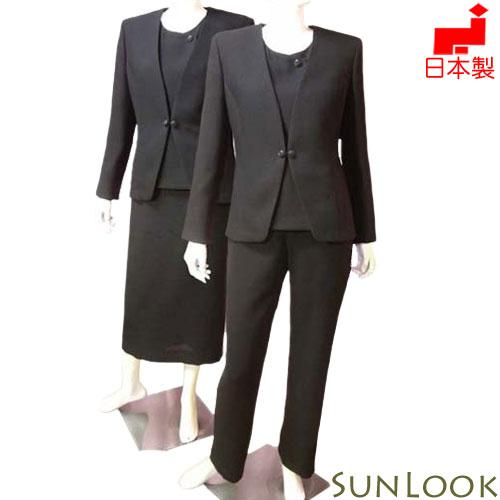 【日本製】大きいサイズ(Lサイズ)ブラックフォーマル 4点スーツ(スラブ変わり織りのジャケット&ブラウス&タイトスカート&パンツ)ミセス 女性礼服 喪服 オールシーズン