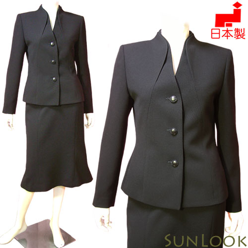 【日本製】大きいサイズ ブラックフォーマル スーツ レディース ミセス(高級生地の美カッティングジャケット&マーメイドスカート)女性 礼服 喪服 Lサイズ 卒業式 入学式にも