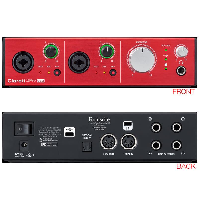 FOCUSRITE CLARETT 2 PRE USB 10in/4out オーディオI/F