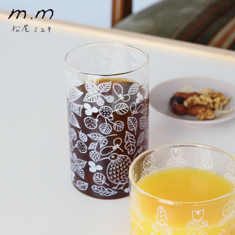 松尾ミユキさんデザインの耐熱グラス 松尾ミユキ 耐熱グラス 推奨 グラス コップ 耐熱 おしゃれ ホットグラス 鳥 タンブラー かわいい 期間限定今なら送料無料 食器 花 ボタニカル 北欧 花柄