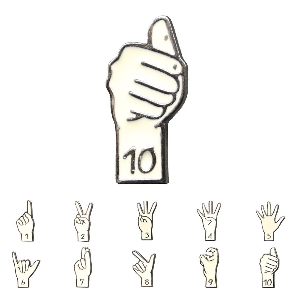 送料無料 オリジナル ピンバッジ 手話 ハンドサイン 1~10 ラペルピン バッジ ピンズ