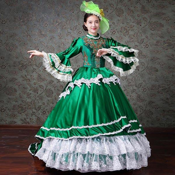 【S/M/L/XL/2XL/3XL】ロングドレス 演奏会 大人 ピアノ 発表会 貴族 ドレス ロングドレス 演奏会 袖付き グリーン 大きいサイズ お姫様 カラードレス ロングドレス ステージ衣装 舞台衣装 オペラ声楽 ステージドレス 中世da468s1s1c6/代引き不可