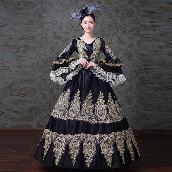 【サイズ有りS/M/L/2XL/3XL】ブラックドレス オペラ声楽 中世貴族風 ゴールド刺繍が豪華お姫様ドレス 舞台衣装やステージ衣装にピッタリのロング丈のプリンセスカラードレス カラードレス 舞台服 ステージ衣装 大きいサイズありd9275f0f0x1/代引き不可