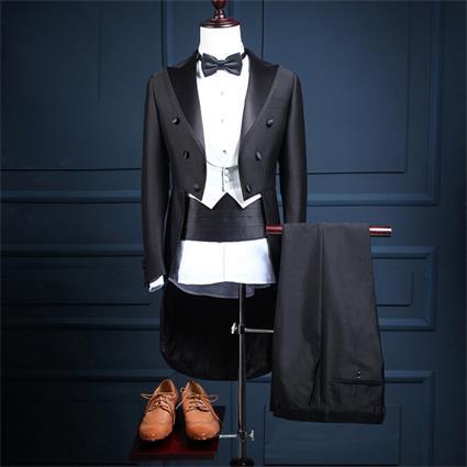 【サイズ有S/M/L/XL/2XL/3XL】タキシード ダブルブレスト 結婚式 燕尾服 イブニングコート メンズ ビジネス メンズスーツ 5点セット リボン付き dg556f0f0y5/代引き不可 02P09Jul16