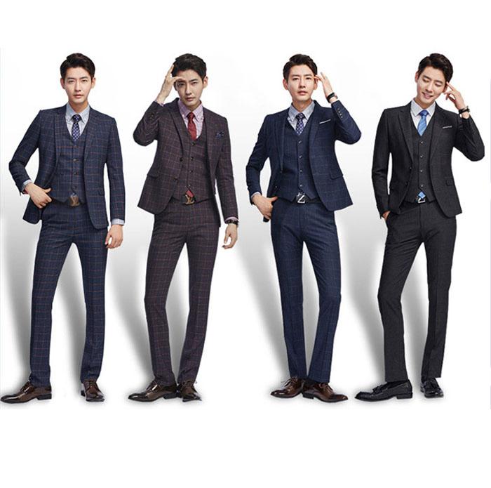 【サイズ有S~6XL】スーツ メンズ 3点セット スリムスーツ チェック柄スーツ パーティー/結婚式/二次会/披露宴/ビジネススーツ(3点セット)セットアップ スーツ 秋冬 洗えるパンツ 紳士 メンズ suit 2つボタン フォーマル リクルート 大きいサイズ /代引き不可
