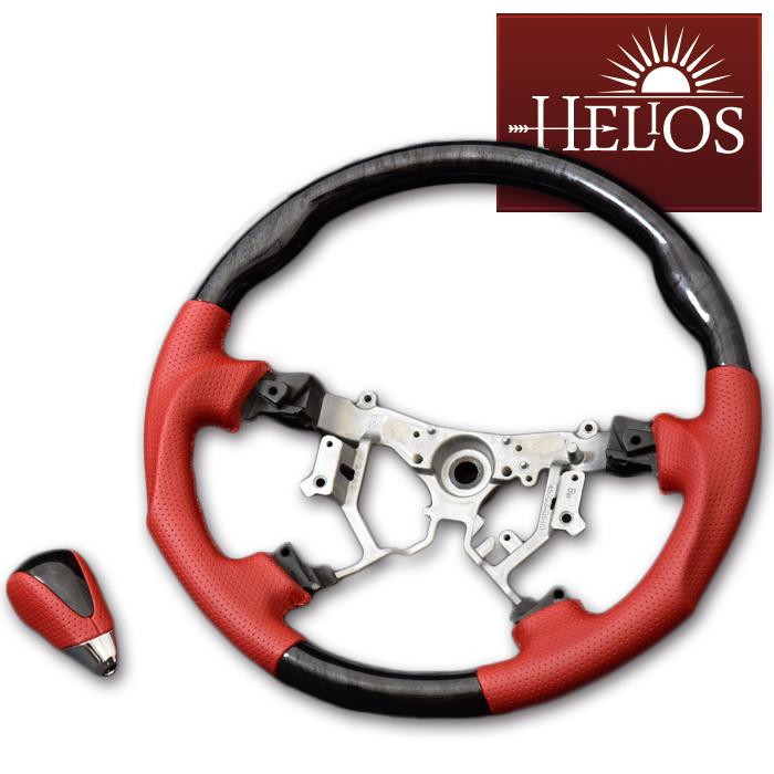 ハンドル 200系 ハイエース HELIOS 売れ筋ランキング レッドパンチング シフトノブ 交換無料 ステアリング
