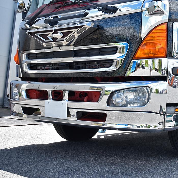 日野 レンジャープロ 4トン ワイド メッキ フロント バンパー & リップ スカート セット