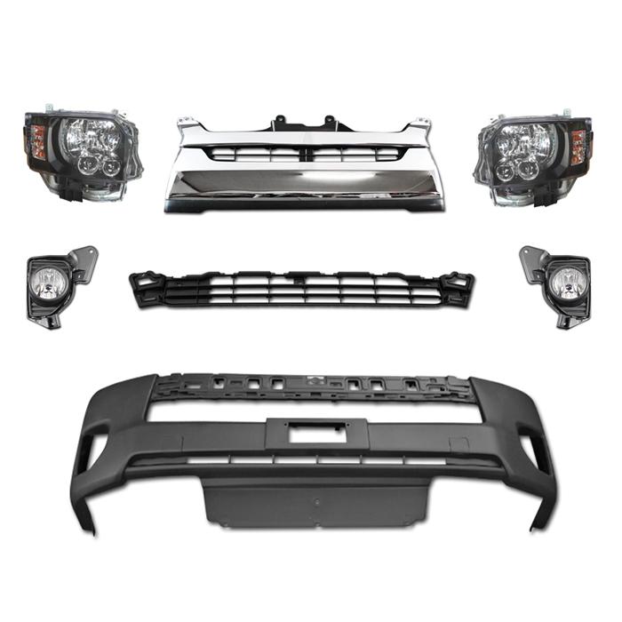 200系 ハイエース 4型 LEDヘッド フロント 7点 3 返品交換不可 購買 セット Ver 純正タイプグリル インナーブラック ヘッドライト