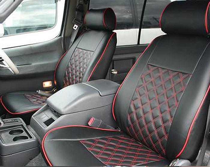 【在庫処分セール品】100系 ハイエース バン S-GL ダイヤカット シートカバー Ver,2 ステッチ パイピング 運転席 助手席 後部座席セット