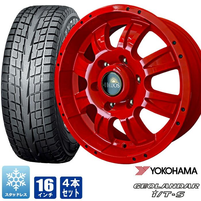 冬用タイヤ スタッドレス ホイールセットが送料無料 215 65R16 200系ハイエース 200系 ハイエース タイヤ ソリッドレッド 4本セット 売り込み I T-S G073 ヘリオス チープ ジオランダー 16インチ
