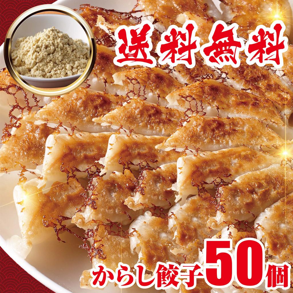 [ギフト/プレゼント/ご褒美] 急上昇 日本限定 国産豚肉 からし餃子 冷凍餃子 50個 ビール 業務用 送料無料 おかず 工場直売