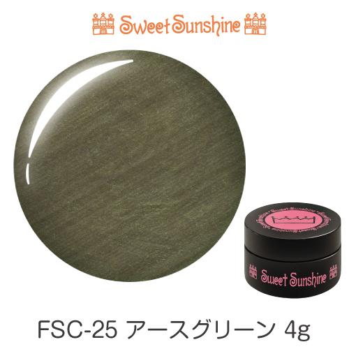 バツグンの発色と塗り感 新品未使用正規品 高価値 プロがサロンで愛用するカラージェル LEDUV対応 日本製 SweetSunshineカラージェル FSC-25 アースグリーン サンシャインベビー 4g プロが愛用する高品質のジェルネイル パール