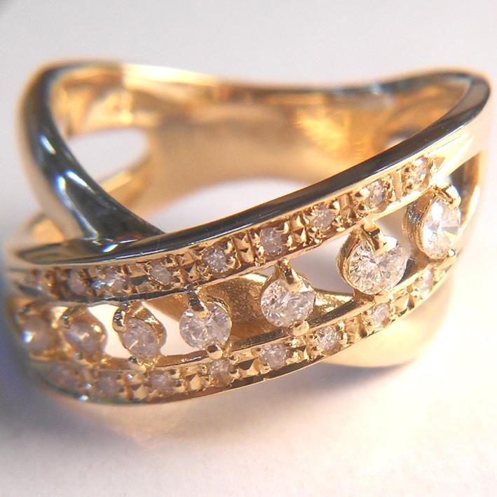 【18金 プレゼント】K18 指輪 イエローゴールドダイヤモンドリング 0.4ct【ダイヤ24石】【レディース】★6.5g★11号【送料無料】