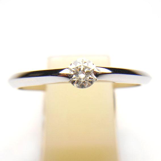 【14金】K14WG 指輪 ダイヤモンドリング【ダイヤモンド0.18ct 1石】【ダイヤ】【シルバー】【レディース】★9号【送料無料】