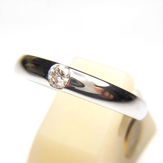 【14金】K14WG 指輪 ダイヤモンドリング【ダイヤモンド0.09ct 1石】【ダイヤ】【シルバー】【レディース】★9号【送料無料】