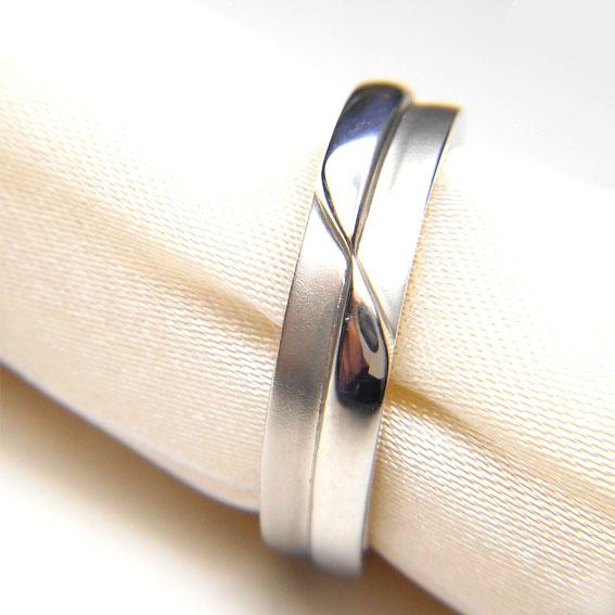 【14金】K14WG 指輪 ファッションリング【シルバー】【デザインリング】【つや消し】【メンズ】★15号【送料無料】
