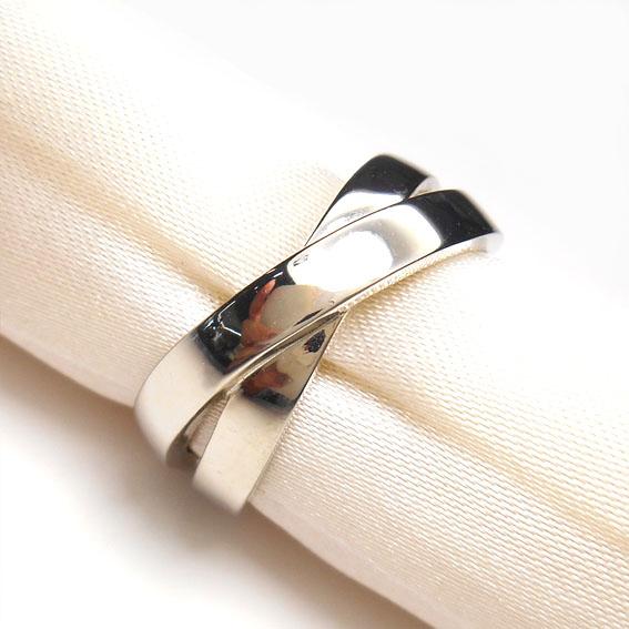【14金】K14WG 指輪 クロスデザインリング【シルバー】【2連風】【メンズ】★16号【送料無料】