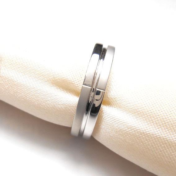 【14金】K14WG 指輪 ファッションリング【デザインリング】【つや消し】【シルバー】【メンズ】★15号【送料無料】